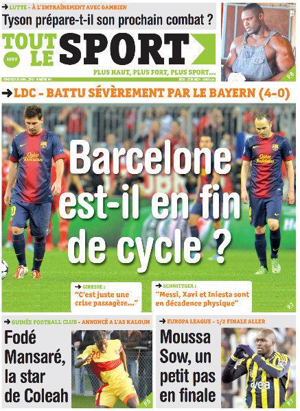 A la Une du Journal Tout Le Sport du vendredi 26 Avril 2013