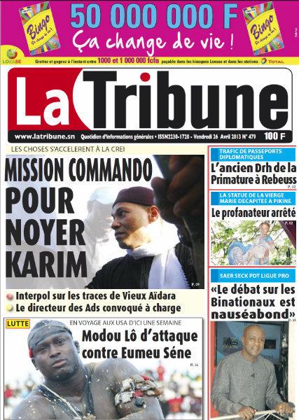 A la Une du Journal La Tribune du vendredi 26 Avril 2013