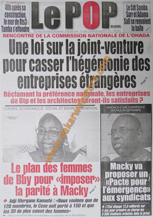 A la Une du Journal Le Populaire du vendredi 26 Avril 2013