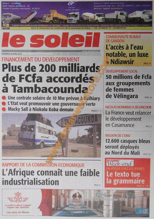 A la Une du Journal Le Soleil du vendredi 26 Avril 2013
