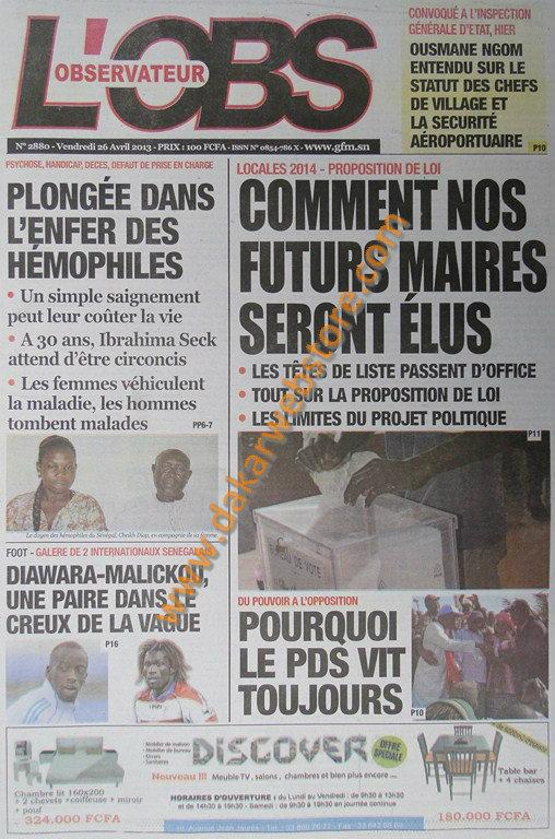 A la Une du journal L'Observateur du vendredi 26 Avril 2013