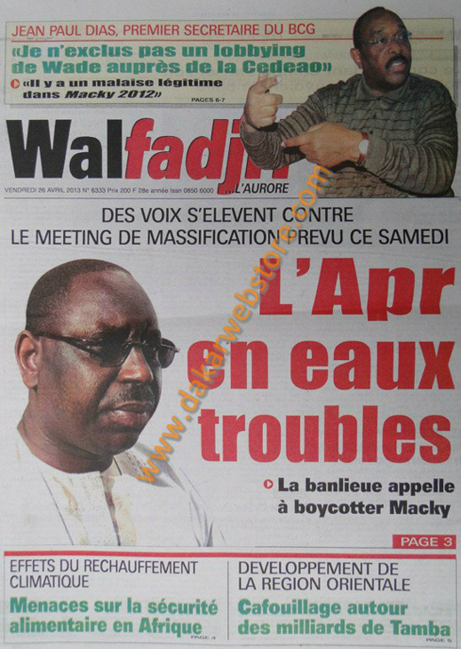 A la Une du journal Walfadjri du vendredi 26 Avril 2013