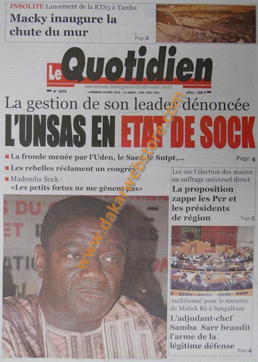 A la Une du journal Le Quotidien du vendredi 26 Avril 2013