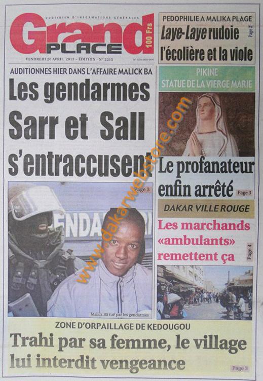 A la Une du journal Grand Place du vendredi 26 Avril 2013