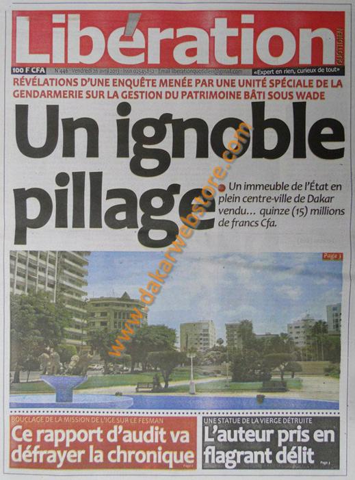 A la Une du journal Libération du vendredi 26 Avril 2013