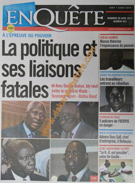 A la Une du journal EnQuête du vendredi 26 Avril 2013