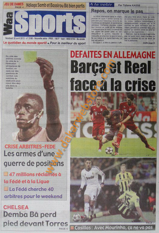 A la Une du journal Waa Sports du vendredi 26 Avril 2013