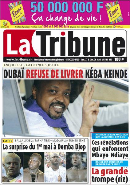 A la Une du Journal La Tribune du samedi 27 Avril 2013