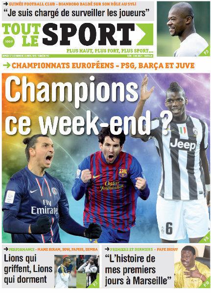 A la Une du Journal Tout Le Sport du samedi 27 Avril 2013