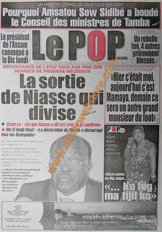 A la Une du Journal Le Populaire du samedi 27 Avril 2013