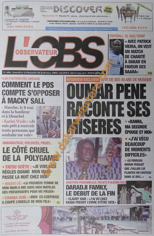 A la Une du Journal L'Observateur du samedi 27 Avril 2013