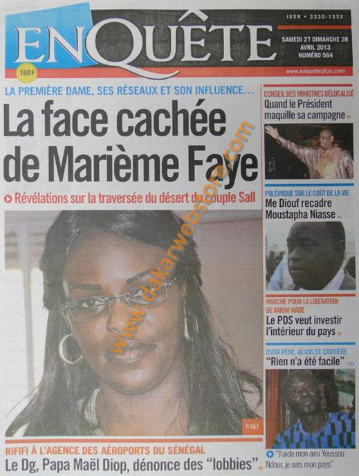 A la Une du Journal EnQuête du samedi 27 Avril 2013