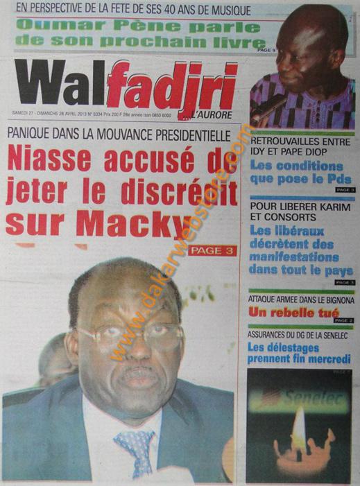 A la Une du Journal Walfadjri du samedi 27 Avril 2013