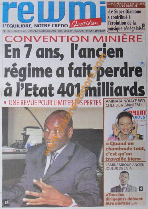 A la Une du Journal Rewmi du samedi 27 Avril 2013