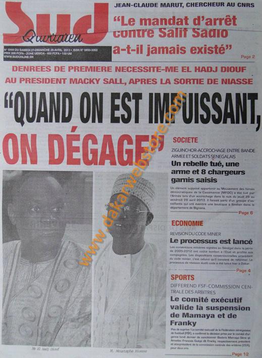 A la Une du Journal Sud Quotidien du samedi 27 Avril 2013