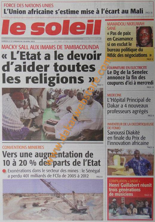 A la Une du Journal Le Soleil du samedi 27 Avril 2013
