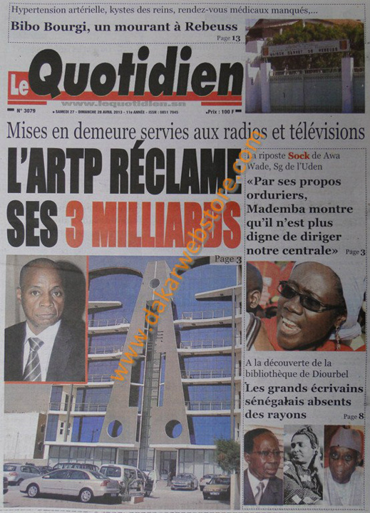 A la Une du Journal Le Quotidien du samedi 27 Avril 2013