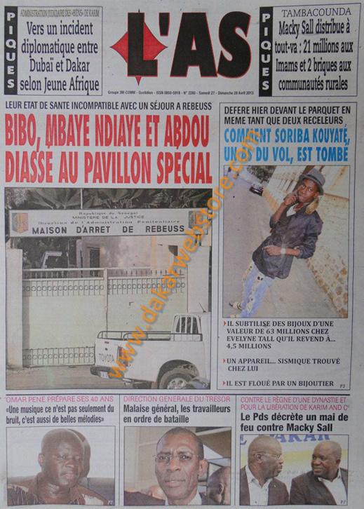 A la Une du Journal L'As du samedi 27 Avril 2013