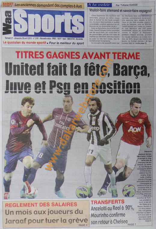 A la Une du Journal Waa Sports du samedi 27 Avril 2013