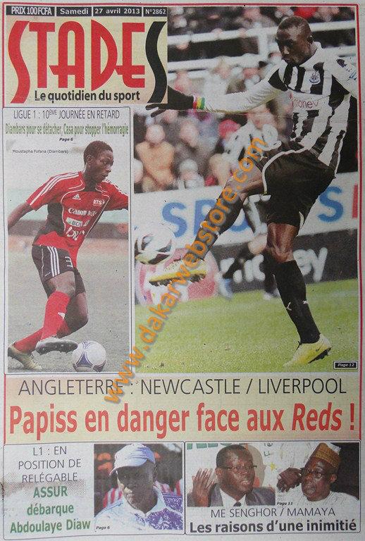 A la Une du Journal Stades du samedi 27 Avril 2013