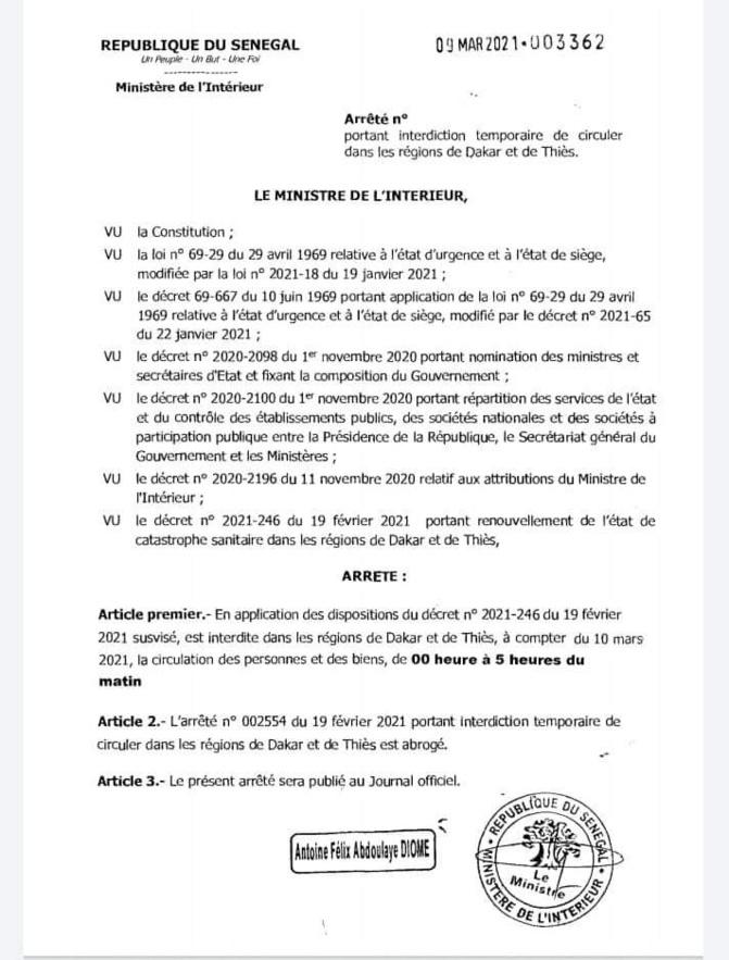 L'arrêté portant interdiction de circuler dans les régions de Thiès et de Dakar, signé