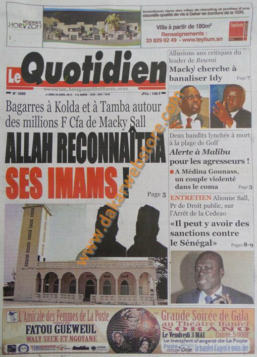 A la Une du Journal Le Quotidien du lundi 29 Avril 2013