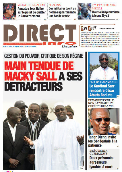 A la Une du Journal Direct Info du lundi 29 Avril 2013