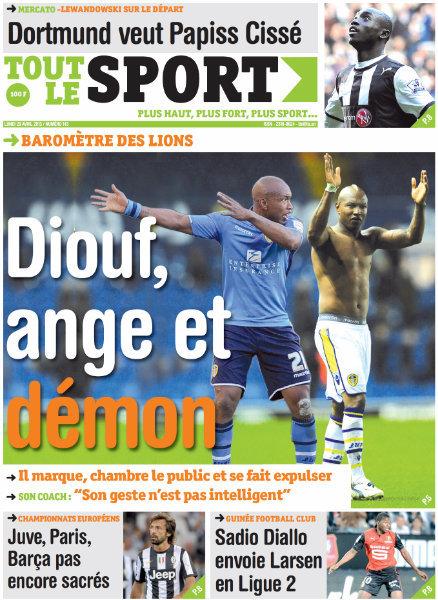 A la Une du Journal Tout Le Sport du lundi 29 Avril 2013