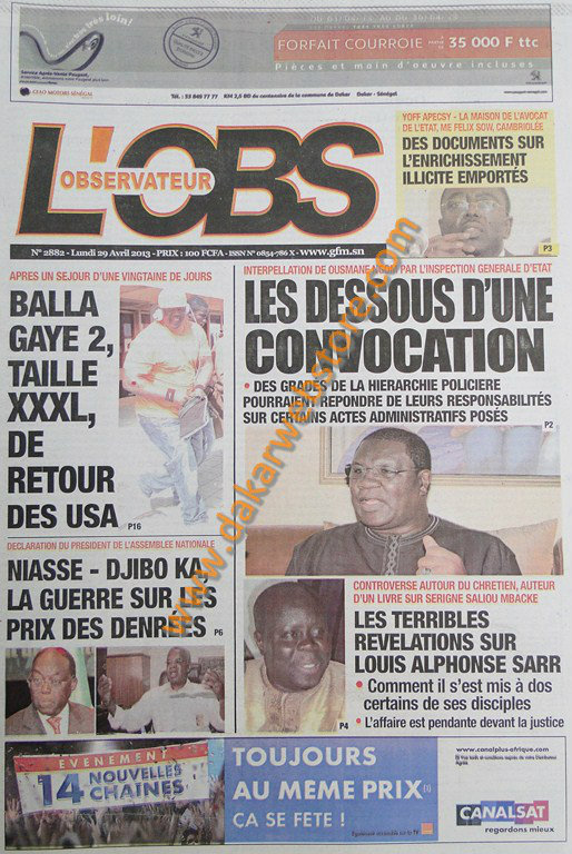 A la Une du Journal L'Observateur du lundi 29 Avril 2013