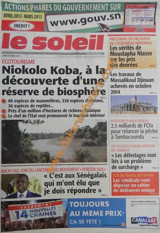 A la Une du Journal Le Soleil du lundi 29 Avril 2013