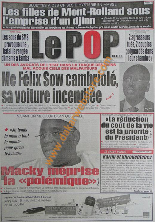 A la Une du Journal Le Populaire du lundi 29 Avril 2013