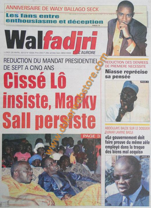 A la Une du Journal Walfadjri du lundi 29 Avril 2013