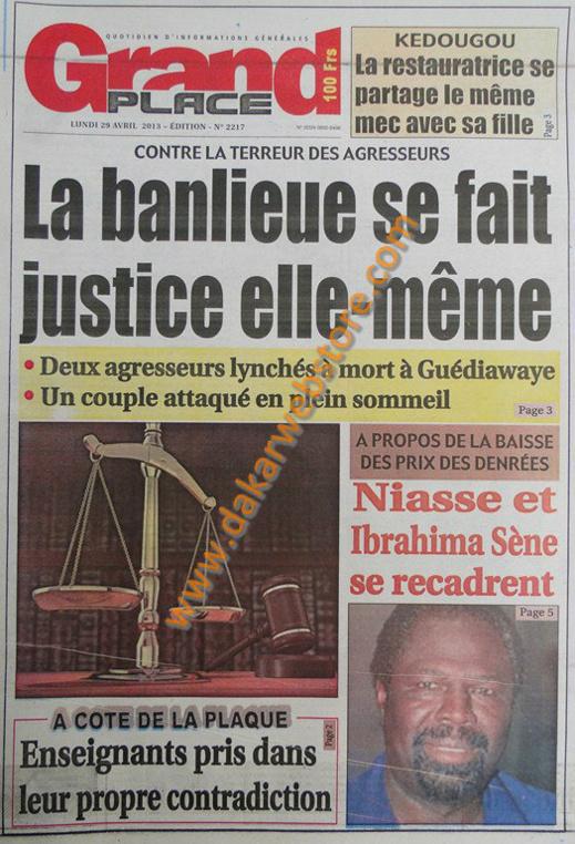 A la Une du Journal Grand Place du lundi 29 Avril 2013