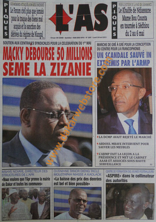 A la Une du Journal L'As du lundi 29 Avril 2013