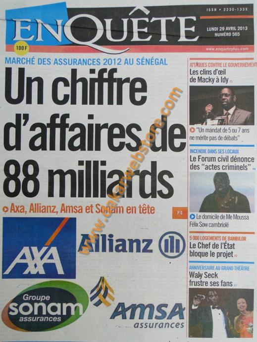 A la Une du Journal EnQuête du lundi 29 Avril 2013