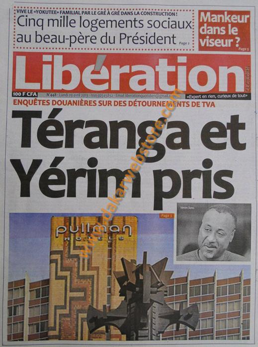 A la Une du Journal Libération du lundi 29 Avril 2013