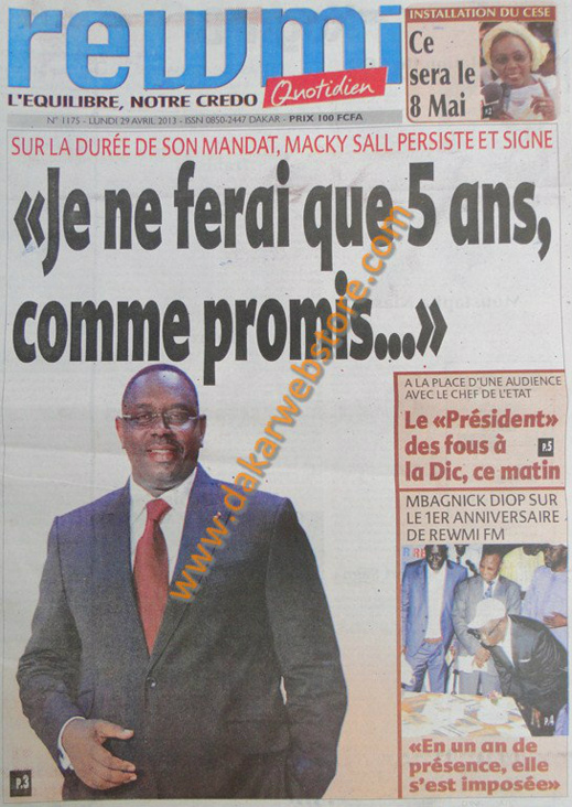 A la Une du Journal Rewmi du lundi 29 Avril 2013
