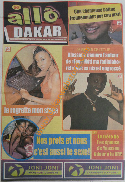 A la Une du Journal Allo Dakar du lundi 29 Avril 2013