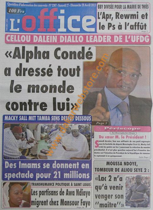 A la Une du Journal L'Office du lundi 29 Avril 2013