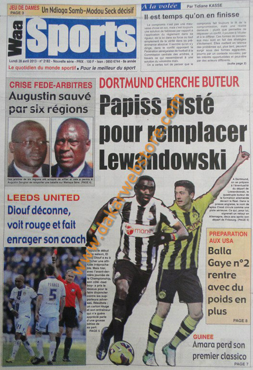 A la Une du Journal Waa Sports du lundi 29 Avril 2013
