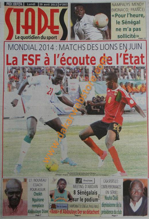 A la Une du Journal Stades du lundi 29 Avril 2013