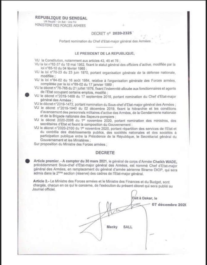 """Le Général Birame Diop n'a pas été destitué, """"pour avoir protégé son peuple"""", il part à la retraite"""