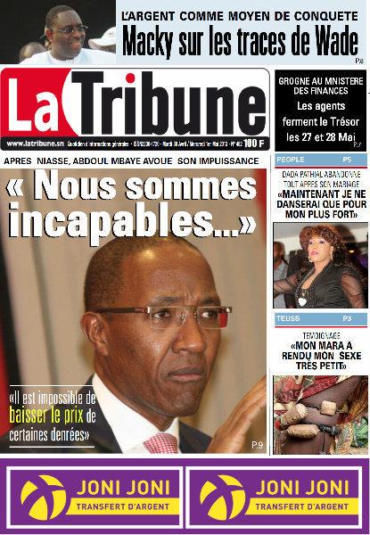 A la Une du Journal La Tribune du mardi 30 Avril 2013