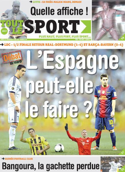 A la Une du Journal Tout Le Sport du mardi 30 Avril 2013