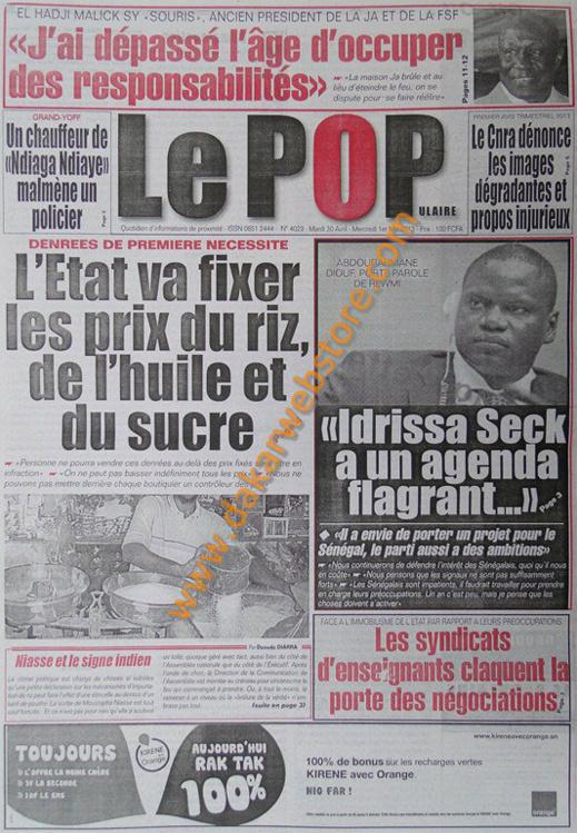A la Une du Journal Le Populaire du mardi 30 Avril 2013