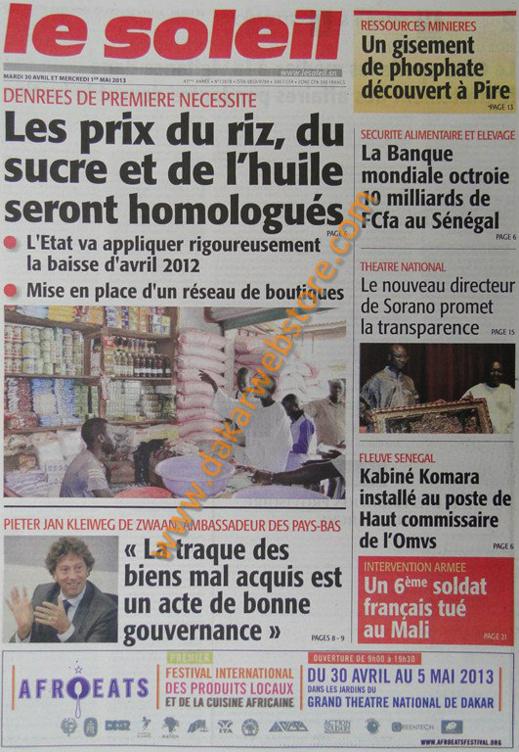 A la Une du Journal Le Soleil du mardi 30 Avril 2013