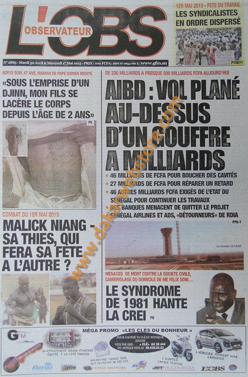A la Une du Journal L'Observateur du mardi 30 Avril 2013