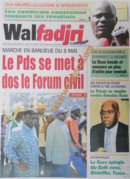 A la Une du Journal Walfadjri du mardi 30 Avril 2013
