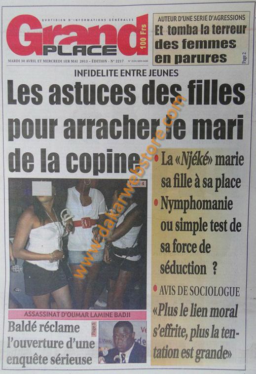A la Une du Journal Grand Place du mardi 30 Avril 2013