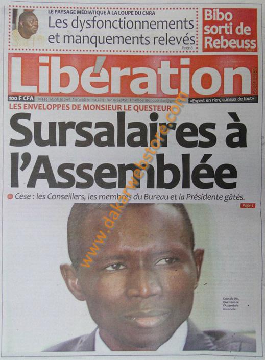 A la Une du Journal Libération du mardi 30 Avril 2013